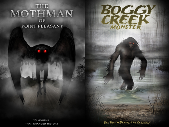 The mothman of point pleasant and boggy creek monster posters