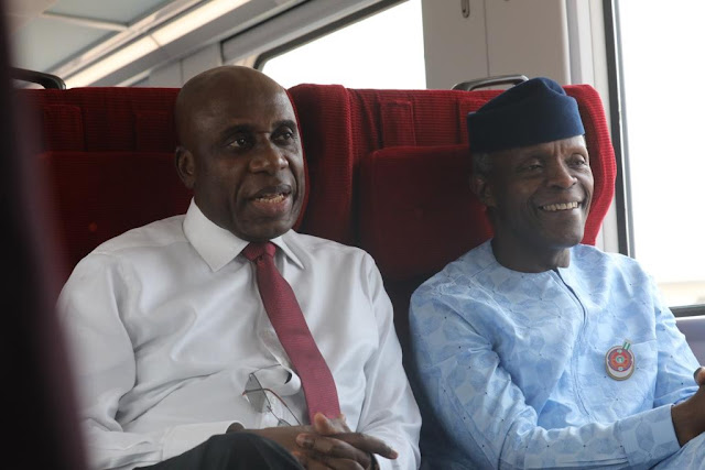 Amaechi And Osinbajo Pictured Together Inside Train As They Head To Kajola, Oyo