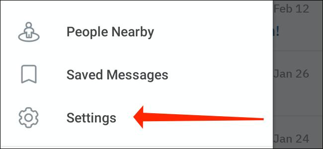 إعدادات Telegram على Android