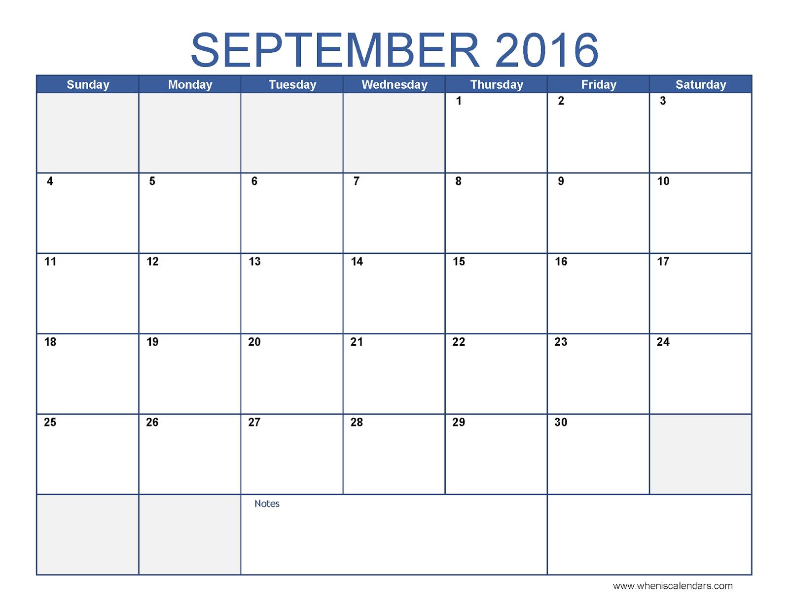 September Calendar 2016 With Holidays : Free calendar printable template holidays blank
