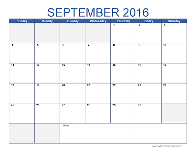 September 2016 Calendar with Holidays
