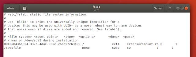 Configuração do SWAPFiles