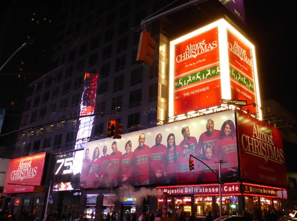 Almost Christmas movie billboards 7th Avenue NYC