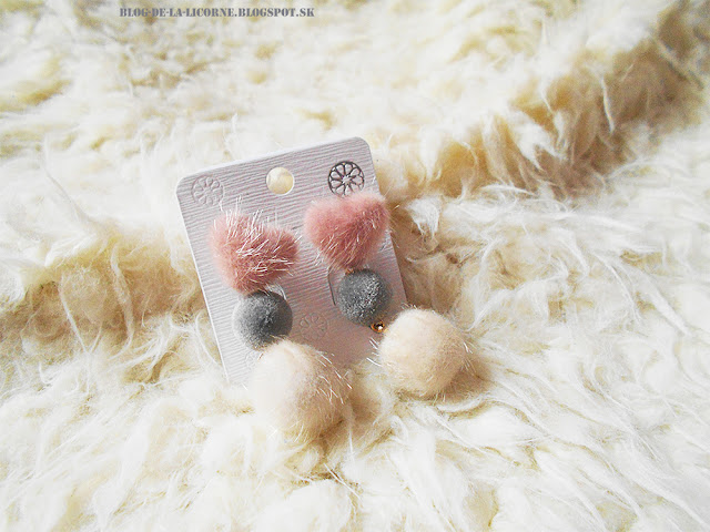 Heart and Little Furball Stud Drop Earrings