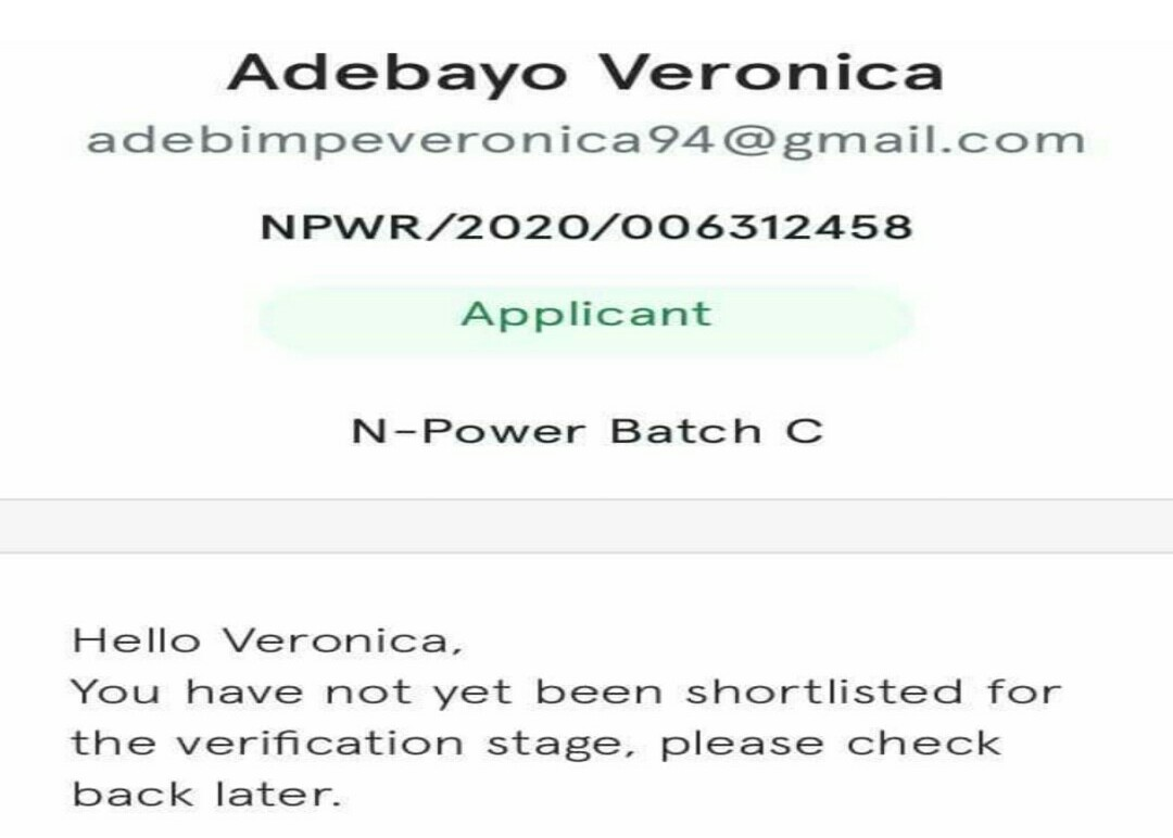 Npower Shortlist: How to check your Npower Nasims Bach c Shortlisted verification status