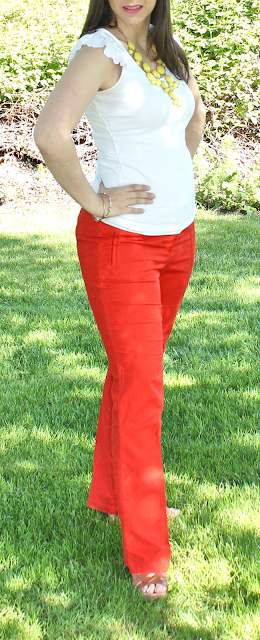 Yellow Statement and Necklace Orange Linen Pants: Cute Teacher Outfit Style