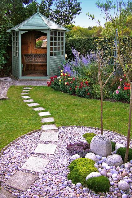 garden stepping stone ideas with gazebo