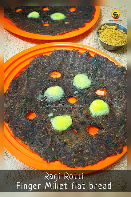 Ragi rotti is a traditional and staple breakfast in karnataka region of India . A very healthy and sumptuous preparation made out of finger Millet or nachni suitable for diabetic patients due to low GI value.