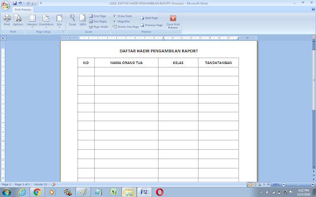 Contoh format daftar hadir pengambilan raport