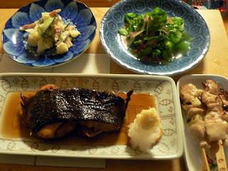 黒カレイ煮つけ 生ハムと葉 ポテトサラダ 焼き鳥