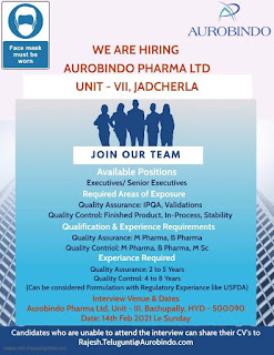 Walk In Interview Drive Job Vacancy For M Pharma, B Pharma, M.Sc in Quality Assurance and Control Department Aurobindo Pharma Ltd,
