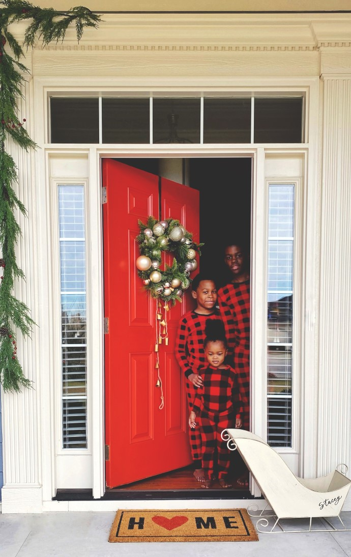 Orange Front Door Decorated for Christmas-Kids With Matching Jammies