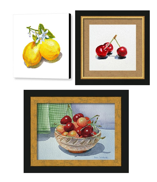 watercolor realism lemon cherries art