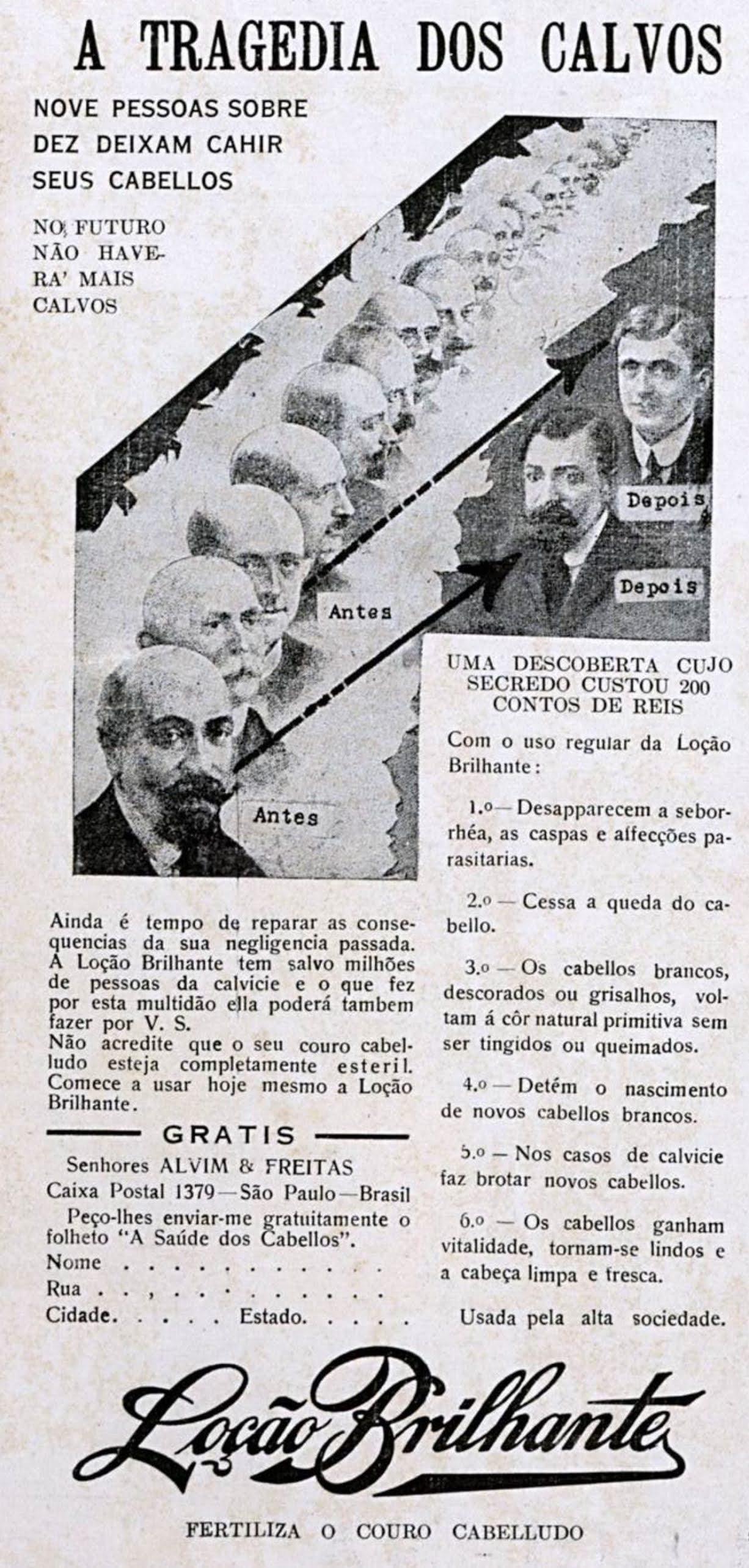 Propaganda antiga de loção para combate à calvície em 1934