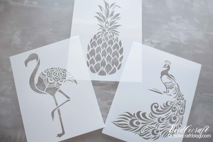 Stencil Revolution has a wide range of stencils in varied sizes. For this tote bag project, I used the 8.5x11 size in the flamingo, pineapple, and peacock.