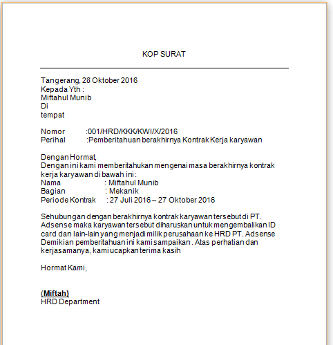 contoh surat pemberitahuan habis kontrak kerja karyawan