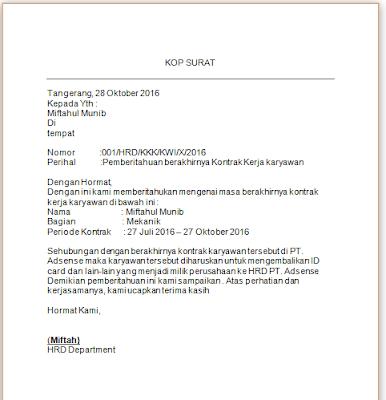 Contoh Surat  Berakhirnya Kontrak Kerja
