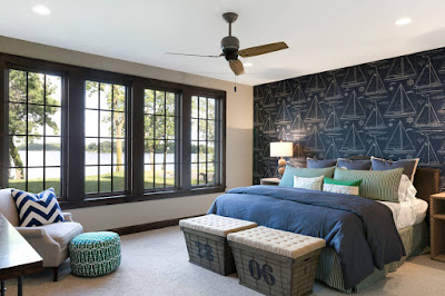 Make an accent wall for bedroom with wallpaper