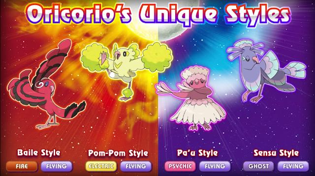 Oricorio Pokémon Sun Moon unique styles Baile Pom-Pom Pa'u Sensu Alola