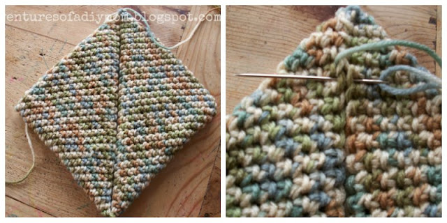 2 images of a crocheted pot holder in the final steps of being completed