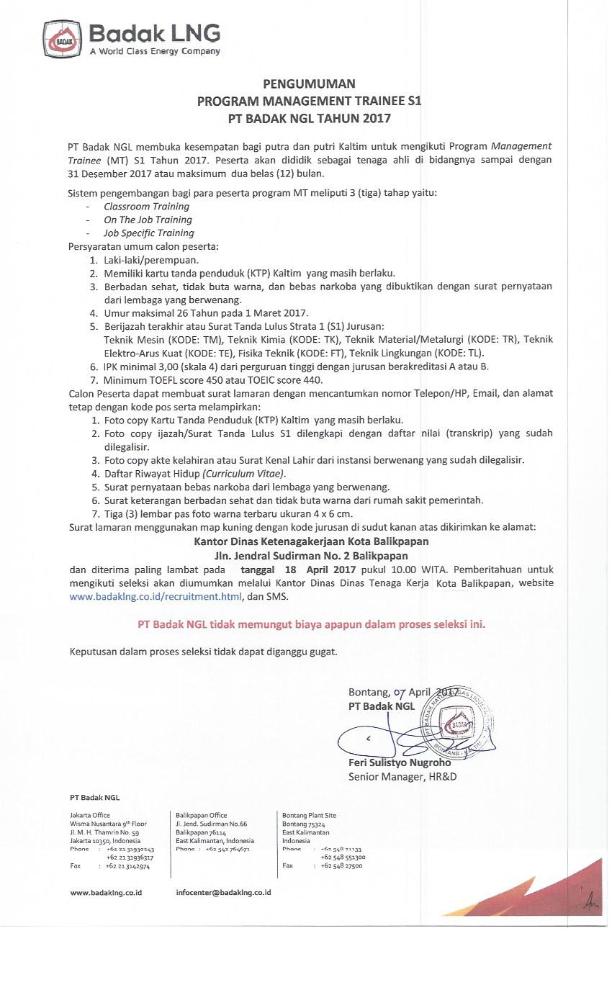 Lowongan Kerja PT Badak NGL Management Trainee Tahun 2017