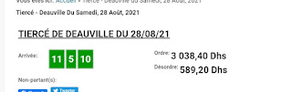 Arrivée DE AGEN DU 28/08/2021 Tiercé et Quinté QUARTE