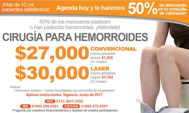 Precio Tratamiento hemorroides o hemorroidectomia en Guadalajara