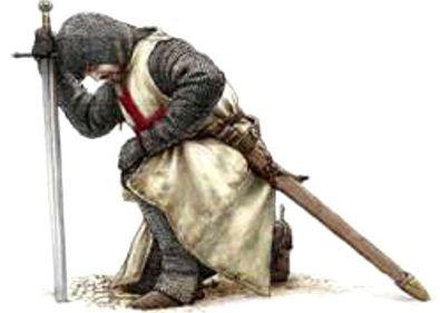 3 templario de rodillas - Que encontraron los Templarios en Tierra Santa