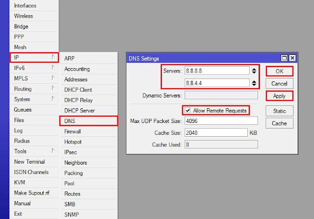 Cara setting MikroTik DNS server