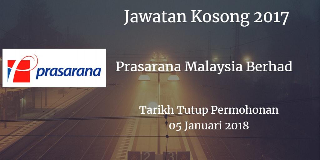 Jawatan Kosong Prasarana Malaysia Berhad 05 Januari 2018