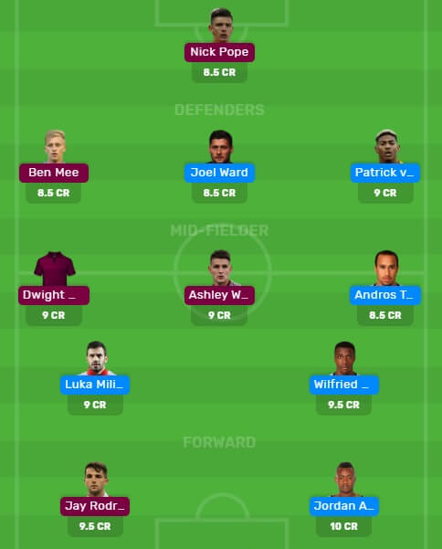 Dream11 Fantasy football team for today's match between cry vs bur