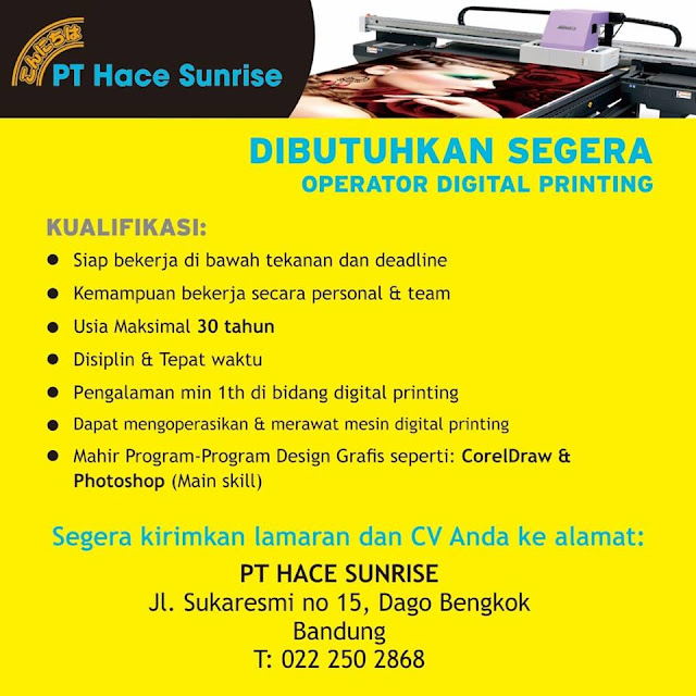 Lowongan Kerja Hace Sunrise Bandung