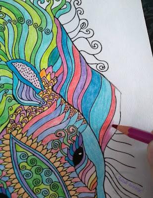 kolorowanki dla dorosłych mandala koń - Adzik tworzy