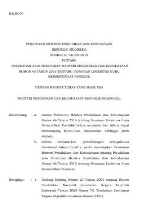PERMENDIKBUD NOMOR 16 TAHUN 2019 TENTANG PENATAAN LINIERITAS GURU