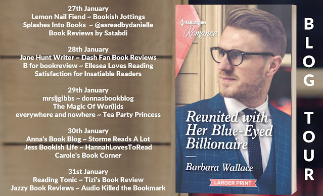 Reunited with Her Blue-Eyed Billionaire by Barbara Wallace blog tour banner