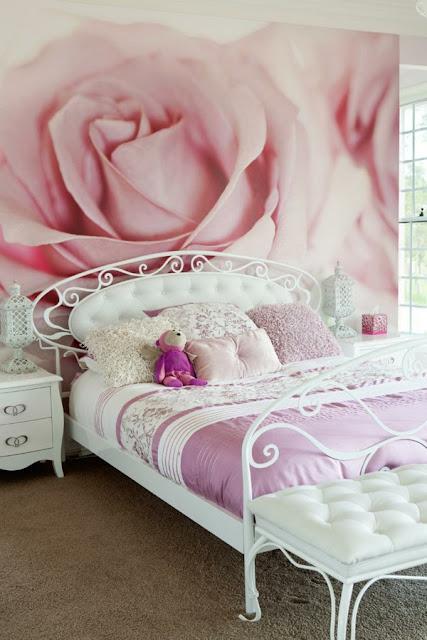 blommig tapet sovrum rosor fototapet rosa sovrumstapet
