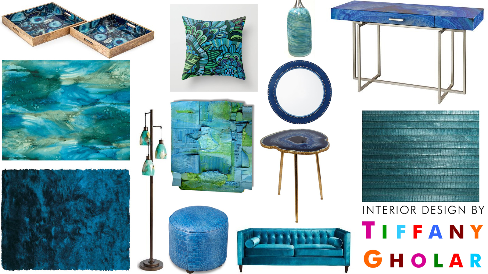 click to enlarge a living room in shades of blue