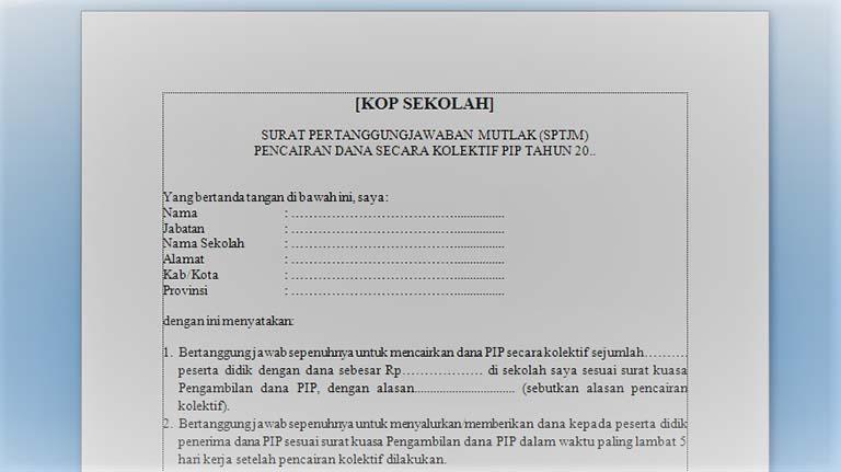 Download Contoh Format SPTJM Untuk PIP/ BSM Terbaru