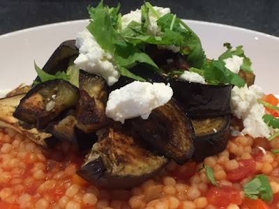 close up of Warm Mediterranean Couscous Salad with Roasted Aubergine and Feta