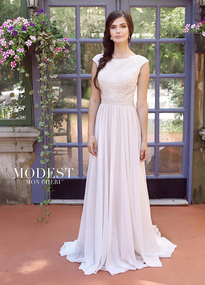 c5fd1672f728 Modest by Mon Cheri Spring 2018 Chiffon with beading A-line bridal gown
