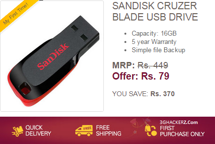 207b28675a5 Ebay Loot Deal Offer   Buy Sandisk Cruzer Blade 16GB Pendrive at Rs ...