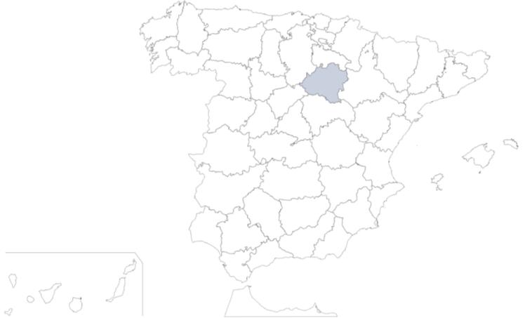 Provincia de Soria en mapa de España