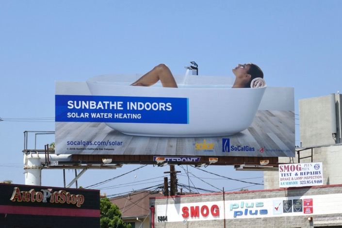 Sunbathe indoors Solar Water Heating billboard