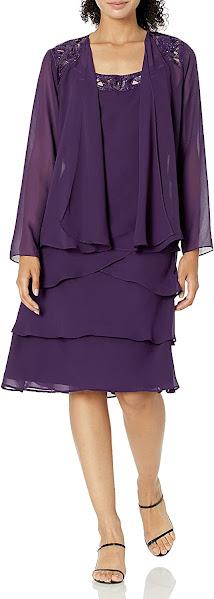 Knee Length Purple Mother of The Groom Dresses