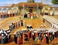 Osmanlı döneminde bir cülus törenini gösteren bir minyatür resim
