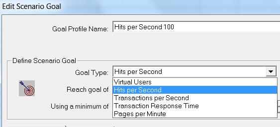 LoadRunner - Goal-Oriented Scenario - Goal Type