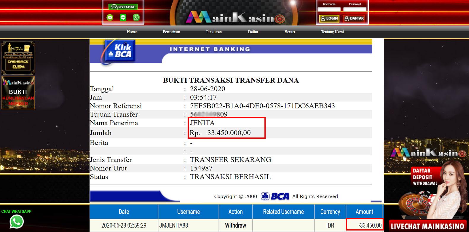 Selamat Kepada Member Setia MAIN KASINO Withdraw RP 33.450.000