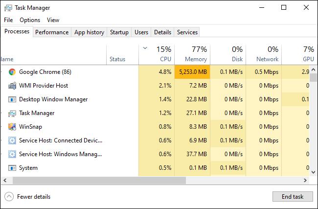 يعرض مدير مهام Windows 10 العمليات الجارية.
