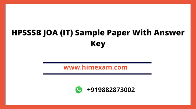 HPSSSB JOA (IT) Sample Paper With Answer Key