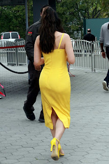 Emeraude Toubia in Yellow Dress at Universal Studios in Universal City, California